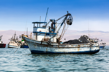 fishing industry: fishing boat in the bay of the Pacific Ocean