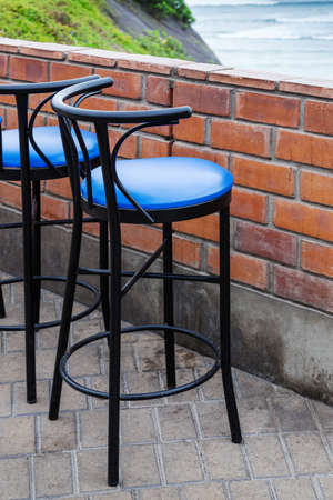 bar stool: bar stool in a cafe on the ocean