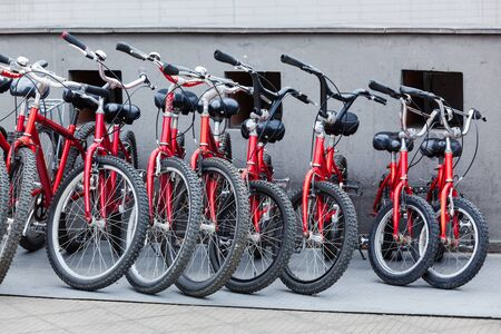 bike parking: bike parking modern beautiful summer day Stock Photo