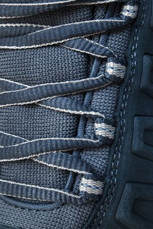 shoestrings: lace on hiking boots close up