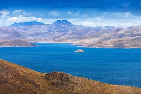 ridge of wave: a small island in the mountain lake