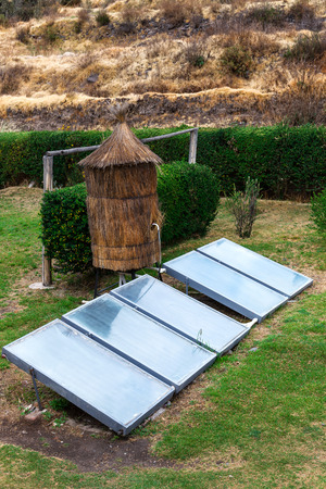 photocell: water heater with a solar panels