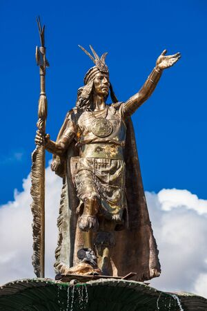 Statue of the Inca Pachacutec on a sunny day
