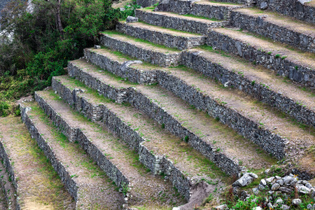 terraced: stone terraces on the mountain of Machu Picchu Stock Photo