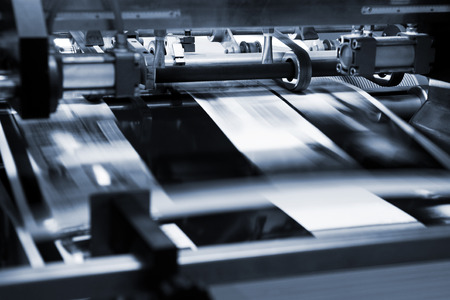 print media: polygraphic process in a modern printing house