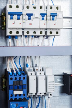 fuse box: electrical wiring in the control cabinet Stock Photo