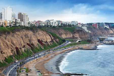 lima: beautiful ocean shore at the big city