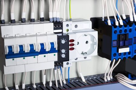 sockets: electrical wires and sockets close up