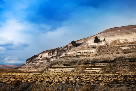 ridge of wave: old mountains in Peru on a sunny day Stock Photo