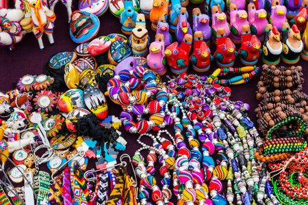 peruvian souvenirs and toys on the market Stock Photo
