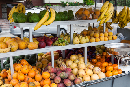 fruit market: tropical fruits at a street market