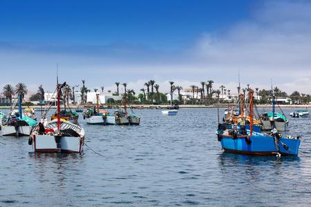 ocean fishing: fishing boats in the ocean bay Stock Photo
