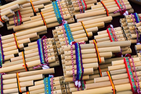 panpipe: wooden pan flute on a street market Stock Photo