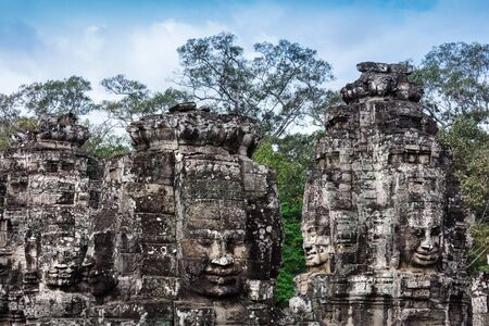 head stones: ruins of the temple Bayon, Siem Reap