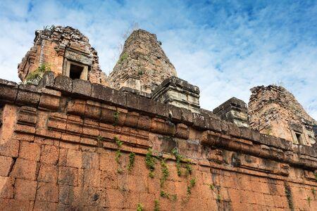 Pre Rup temple ruins and wall at Angkor wat complex Stock Photo