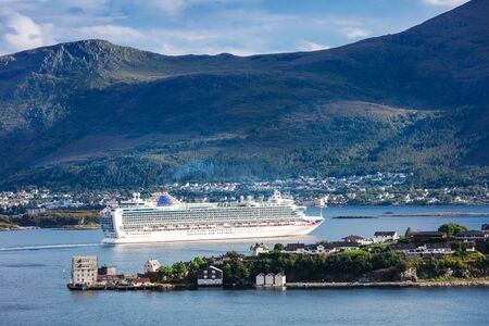a cruise ship in the bay, Norway