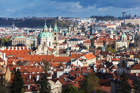 view of Old town of Prague with tiled roofs. Prague, Czech Republic