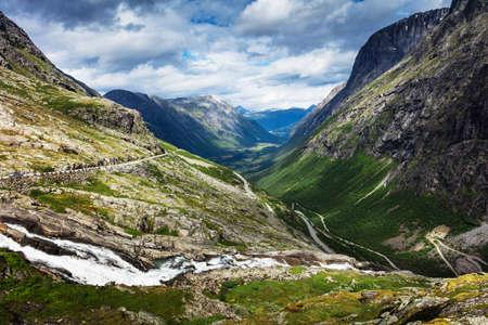 Norway troll road - mountain route of Trollstigen Stock Photo