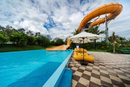 water slides in tropical aqua park