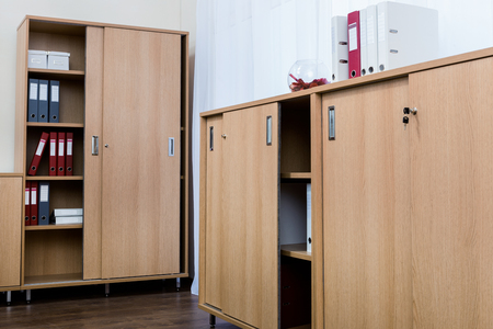 cabinets with folders in a modern office