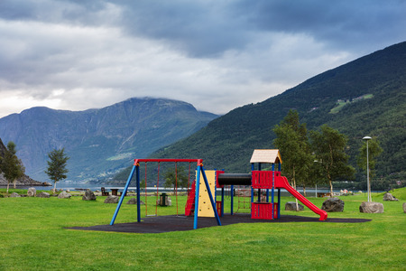 playground in the park on the shore of the fjord, Norway Stockfoto