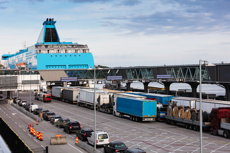 loading cars on the sea ferry