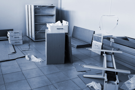 packed furniture to a new and modern office repair