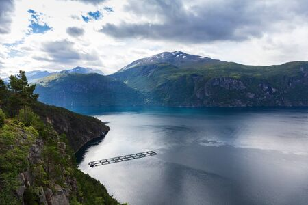 Salmon farms. Fjords in Norway.