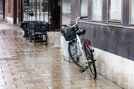 bike on a rainy day in the city
