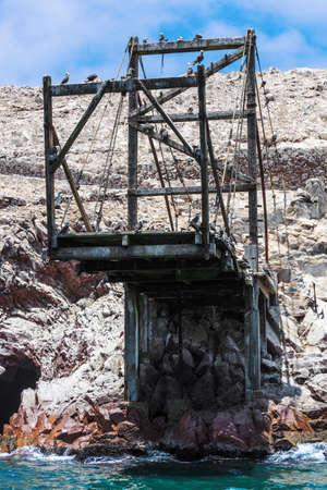 Guano loading ramp in the Ballestas Islands. Peru.