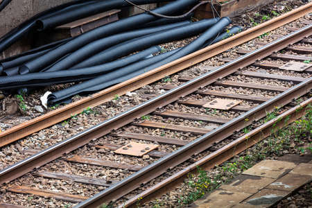 Repair of the railway track at the station Banque d'images