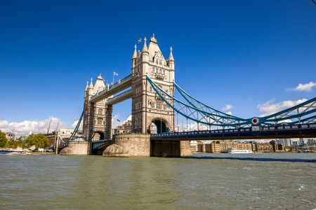 Great Britain. Tower Bridge in the London with blue sky