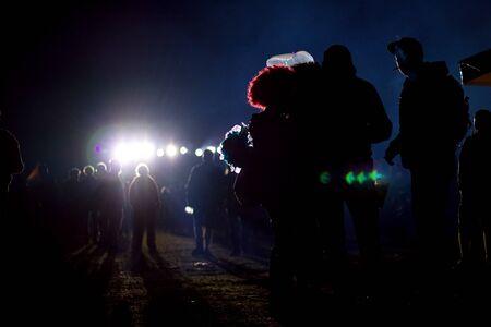 silhouette of people in scary dark Standard-Bild