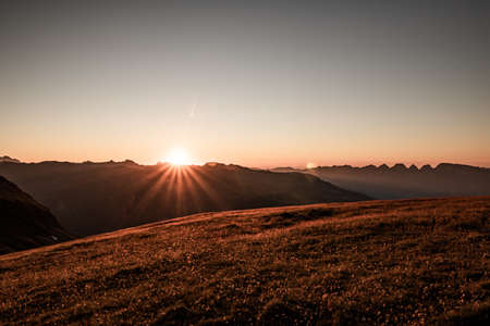 view on alps mountains at sunset