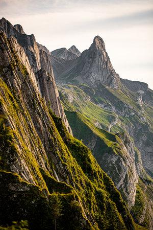 Close up view of swiss mountain, Alps Switzerland. summer hikking