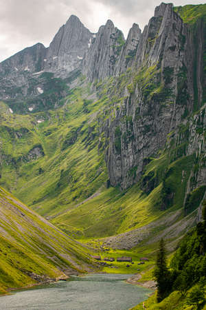 Beautiful view of the third largest mountain lake he canton of Appenzell. Lake Fahlensee is in a very narrow valley between the mountain in Bollenwees and the Zwinglipass. Switzerland