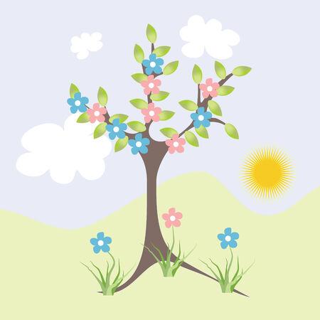 abloom: �rbol de flor Vectores