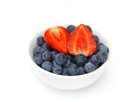 blueberries and strawberries in bowl photo