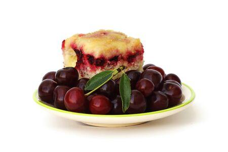 homemade cake: homemade cake with cherries Stock Photo