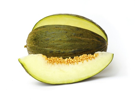 Piel de sapo melon and a slice on white background Imagens - 10163019