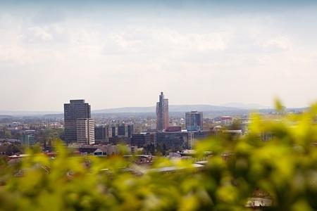 moravia: Beautiful panorama of Brno city. Czech Republic. Stock Photo