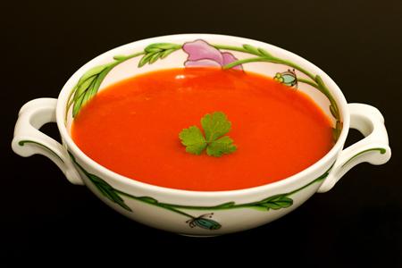 gazpacho: Tomato soup in a bowl Stock Photo
