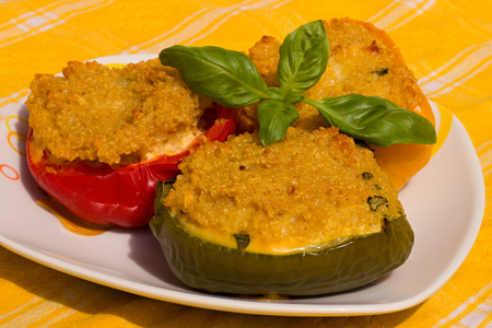 Colorful peppers with couscous on a plate