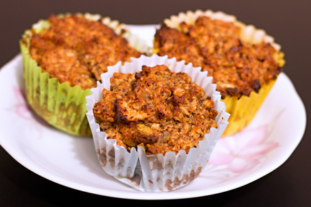 Fresh homemade muffins with oatmeal