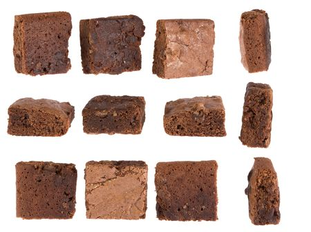 Gooey, chewy chocolate chunk brownies presented against isolated white backgound.  Shown with various viewpoints, perfect for use in composites of snacks, treats, bag lunches or just comfort foods.