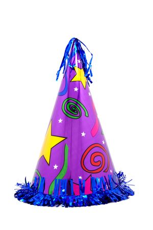 Bright, colorful party hat with blue tinsel fringe around the bottom and purple background with stars and swirls.  Isolated on white background.