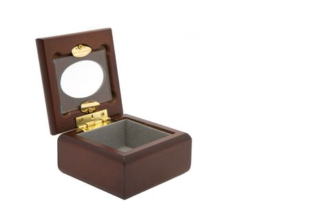 Small wooden jewelry box, lined with gray fabric with a glass window in the lid.  The box is open and empty.