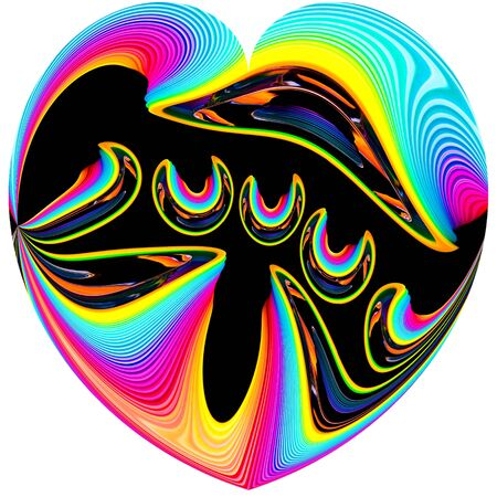 Boldly colored heart . Retro illustration.