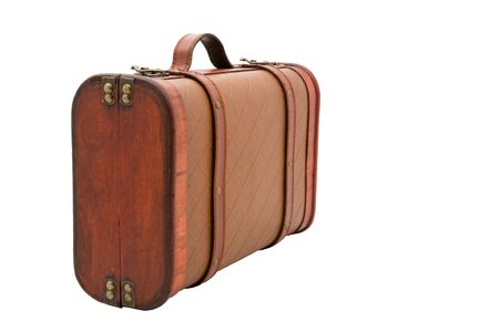Small, leather and wooden vintage suitcase on isolated white background. Ready for a trip or storage.