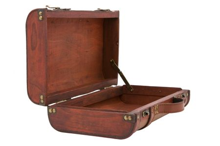 Small, leather and wooden vintage suitcase on white background. Ready for a trip or storage. Stock Photo